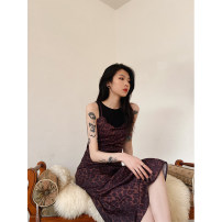Dress Winter 2020 Leopard Print M, L Mid length dress singleton  Sleeveless street V-neck High waist Leopard Print Socket routine camisole 18-24 years old JASUMMER Stitching, zipper, printing 31% (inclusive) - 50% (inclusive) other Europe and America