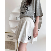 skirt Spring 2021 M, L White, black Short skirt street High waist A-line skirt Solid color Type A 18-24 years old 31% (inclusive) - 50% (inclusive) other JASUMMER other Chain, pocket, zipper, stitching Europe and America