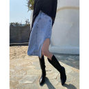 skirt Summer 2021 S,M,L Light blue, black Middle-skirt street High waist A-line skirt Solid color 18-24 years old 31% (inclusive) - 50% (inclusive) JASUMMER other Pocket, zipper, stitching Europe and America