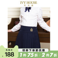 skirt 110cm 120cm 130cm 140cm 150cm 155cm Dark blue 0 yuan, 95% off deposit Ivy house / ivy female Polyester 65.8% viscose 34.2% spring and autumn skirt college Solid color Pleats polyester AC1532243a Class B Autumn of 2019