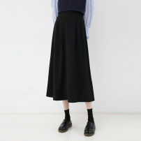 skirt Spring 2021 S, M Apricot, black Mid length dress commute High waist A-line skirt Solid color Type A 963ej More than 95% other Other / other other zipper