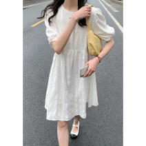 Dress Summer 2021 Average size Middle-skirt singleton  Short sleeve commute Crew neck High waist other Socket A-line skirt routine Type A Other / other Korean version 30% and below polyester fiber