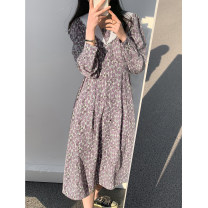 Dress Spring 2021 M, L longuette singleton  Long sleeves commute V-neck High waist Broken flowers Socket A-line skirt routine Others Type A Other / other Korean version printing More than 95% Chiffon polyester fiber