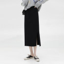 skirt Autumn 2020 Average size black Mid length dress commute High waist skirt Solid color Type H 905cj 31% (inclusive) - 50% (inclusive) Other / other Viscose make a slit or vent Korean version