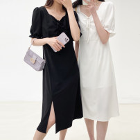 Dress Summer 2021 Black, white S, M Middle-skirt singleton  Short sleeve commute other High waist Solid color Socket A-line skirt other Others Type X Other / other Korean version Tuck, lace up 1005fh 91% (inclusive) - 95% (inclusive) polyester fiber