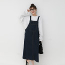 Dress Spring 2021 navy blue S, M Mid length dress Sleeveless commute Loose waist Socket other straps Type H Other / other Korean version 922fi More than 95% other cotton