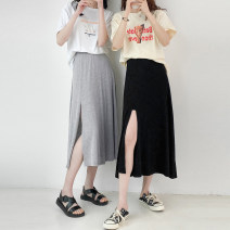 skirt Summer 2021 Average size Gray, black Mid length dress commute High waist A-line skirt Solid color Type A 10023dd 51% (inclusive) - 70% (inclusive) Other / other cotton Korean version