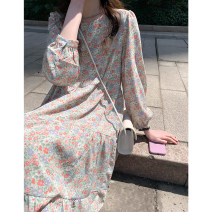 Dress Spring 2021 Pink flowers, green flowers Average size longuette singleton  Long sleeves commute Crew neck High waist Decor Socket Cake skirt routine Others Type A Other / other 931gf More than 95% other other