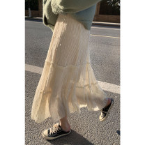 skirt Spring 2021 Average size Black, vanilla Beige Mid length dress commute High waist Cake skirt Solid color Type A 980ei 51% (inclusive) - 70% (inclusive) other Other / other acrylic fibres Sequins