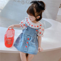 suit Other / other Two piece ice cream denim skirt 80cm,90cm,100cm,110cm,120cm,130cm female spring and autumn Korean version Short sleeve + skirt 2 pieces routine There are models in the real shooting Zipper shirt Solid color Denim children Expression of love Other 100%