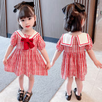 Dress Red bow plaid skirt female Other / other 80cm,90cm,100cm,110cm,120cm,130cm Other 100% summer Korean version Short sleeve lattice cotton Splicing style 7 years old, 12 months old, 3 years old, 6 years old, 18 months old, 9 months old, 6 months old, 2 years old, 5 years old, 4 years old
