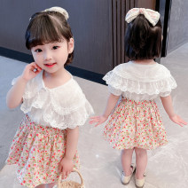 suit Other / other Lace shirt floral skirt suit 80cm,90cm,100cm,110cm,120cm,130cm female summer Korean version Sleeveless + pants 2 pieces Thin money There are models in the real shooting Socket Broken flowers other Expression of love Other 100% Chinese Mainland