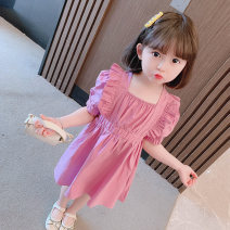 Dress Yellow cotton skirt with flying sleeves, pink cotton skirt with flying sleeves female Other / other 90cm,100cm,110cm,120cm,130cm Other 100% summer Korean version Short sleeve Solid color other Princess Dress Chinese Mainland