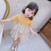 Dress female Other / other 80cm,90cm,100cm,110cm,120cm,130cm Other 100% summer Korean version Broken flowers cotton Cake skirt 12 months, 6 months, 9 months, 18 months, 2 years old, 3 years old, 4 years old, 5 years old, 6 years old, 7 years old
