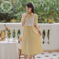 Dress Summer 2021 White, yellow, blue S,M,L Mid length dress Two piece set Short sleeve commute other middle-waisted Solid color Socket routine 25-29 years old Type A Korean version More than 95%