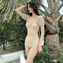 one piece  Tongtong swimsuit M,L,XL,XXL Black, beige Triangle one piece swimsuit Steel strap breast pad Nylon, spandex, polyester, others female Short sleeve Casual swimsuit Solid color