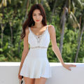 one piece  Tongtong swimsuit M,L,XL White, black Skirt one piece With chest pad without steel support Others, polyester, spandex, nylon Sleeveless Solid color