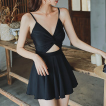 one piece  Tongtong swimsuit M,L,XL black Skirt one piece With chest pad without steel support other female Sleeveless Casual swimsuit other