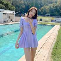 one piece  Tongtong swimsuit XL,L,M violet With chest pad without steel support female Short sleeve Casual swimsuit