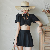 Split swimsuit Tongtong swimsuit black M,L,XL Skirt split swimsuit With chest pad without steel support other female