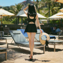 one piece  Tongtong swimsuit M,L,XL,XXL black Skirt one piece Steel strap breast pad Others, polyester, nylon female Sleeveless Casual swimsuit Solid color backless