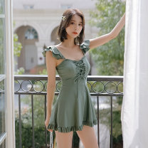 Split swimsuit Tongtong swimsuit green M,L,XL Skirt split swimsuit With chest pad without steel support other female