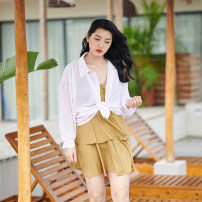 one piece  Tongtong swimsuit Skirt one piece With chest pad without steel support female Long sleeves Casual swimsuit lattice
