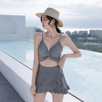 one piece  Tongtong swimsuit XL,L,M Black, grayish blue Skirt one piece With chest pad without steel support Nylon, spandex, polyester, others female Sleeveless Casual swimsuit Solid color