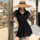 one piece  Tongtong swimsuit M,L,XL black Skirt one piece With chest pad without steel support Nylon, spandex, polyester, others female Long sleeves Casual swimsuit