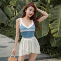 one piece  Tongtong swimsuit XL,L,M royal blue Triangle one piece swimsuit With chest pad without steel support Others, polyester, spandex, nylon female Sleeveless Casual swimsuit Solid color