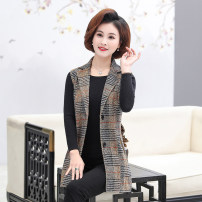 Middle aged and old women's wear Spring 2020 Gray, yellow XL,XXL,XXXL,XXXXL,5XL Intellectuality Vest easy singleton  lattice 40-49 years old Cardigan moderate Polo collar Medium length routine 001-C01 001-C01 Button polyester 81% (inclusive) - 90% (inclusive) Single breasted