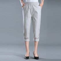 Casual pants Light grey XL,2XL,3XL,4XL Summer 2020 Cropped Trousers Straight pants High waist Versatile Thin money 40-49 years old 81% (inclusive) - 90% (inclusive) 001-C47 001-C47 Cotton blended fabric Embroidery hemp