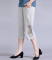 Casual pants Light grey XL,2XL,3XL,4XL,5XL Summer 2020 Cropped Trousers Straight pants High waist Versatile Thin money 40-49 years old 51% (inclusive) - 70% (inclusive) HP embroidered cotton linen pants HP embroidered cotton linen pants Cotton blended fabric pocket hemp