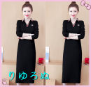Dress Autumn 2020 black M, big L, big XL, big XXL, big XXXL, big XXXXL Mid length dress singleton  Long sleeves commute Solid color Ol style