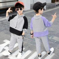 suit Other / other Black, purple 90cm,100cm,110cm,120cm,130cm,140cm,150cm,160cm currency spring and autumn leisure time Long sleeve + pants 2 pieces routine There are models in the real shooting Zipper shirt nothing other cotton children Expression of love Class B Chinese Mainland