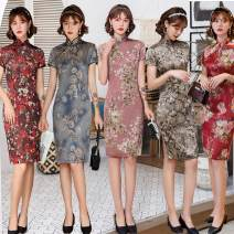 cheongsam Summer 2020 M (reference weight about 100 kg), l (reference weight about 110 kg), XL (reference weight about 118 kg), XXL (reference weight about 128 kg), XXXL (reference weight about 138 kg), 4XL (reference weight about 148 kg) DQ1-1,DQ1-2,DQ1-3,DQ1-4,DQ1-5,DQ1-6,DQ1-7,DQ1-8,DQ1-9 Retro DQ