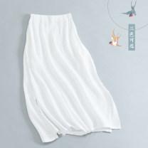 skirt Fall 2017 Single code Mid length dress Solid color