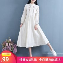 Dress Spring 2020 Beige * chest sleeve pink rattan embroidery dress S,M,L,XL Mid length dress stand collar Solid color A-line skirt bishop sleeve Embroidery, lace up 51% (inclusive) - 70% (inclusive) hemp