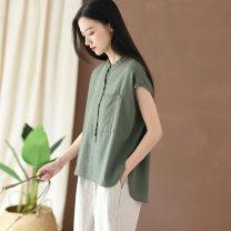 T-shirt Black, white, dark green Average size Summer 2020 Sleeveless stand collar easy Regular routine hemp 51% (inclusive) - 70% (inclusive) literature Solid color, stitching