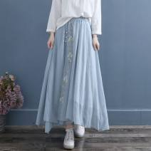 skirt Spring 2021 Average size White ∥ side split embroidered triple breasted skirt, blue ∥ side split embroidered triple breasted skirt, black ∥ side split embroidered triple breasted skirt Mid length dress A-line skirt Solid color Type A 51% (inclusive) - 70% (inclusive) hemp