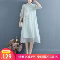 Dress Spring 2021 White ∥ Gardenia collar dress, green ∥ Gardenia collar dress, meat powder ∥ Gardenia collar dress S,M,L,XL,2XL longuette elbow sleeve commute Solid color Socket A-line skirt other Embroidery, lace, hollow out 51% (inclusive) - 70% (inclusive) other cotton