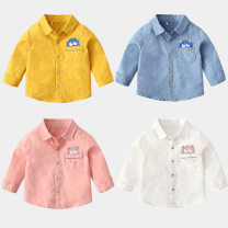 shirt Pink, white, blue, yellow xiailebaby male 90cm,100cm,110cm,120cm,130cm,140cm spring and autumn Long sleeves leisure time Cartoon animation cotton Lapel and pointed collar Cotton 100% sy234 Class B