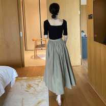 skirt Summer 2021 S,M,L,XL Black, Khaki Mid length dress commute High waist Umbrella skirt Solid color Type A 25-29 years old More than 95% other No foam polyester fiber fold Simplicity