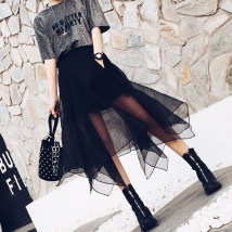 skirt Spring of 2018 One size fits all waistline black Mid length dress commute High waist Irregular Solid color Type A 18-24 years old 51% (inclusive) - 70% (inclusive) other other Asymmetric zipper Korean version