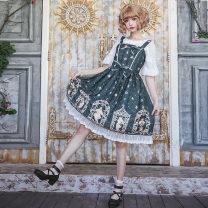 Dress Autumn of 2018 S,XL,L,M Mid length dress singleton  Sweet Lotus leaf collar High waist Decor zipper Princess Dress Princess sleeve camisole 18-24 years old A-13 Chiffon polyester fiber
