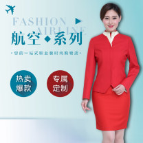 Professional dress suit S,M,L,XL,XXL,XXXL,4XL,5XL Big red coat + skirt, coat Summer of 2018 Long sleeves Hong Kong jacket + skirt loose coat Suit skirt 18-25 years old Zhiqi pinshang 51% (inclusive) - 70% (inclusive) cotton