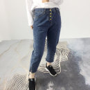 Women's large Spring 2020 Denim blue, greyish black Large XL, large 2XL, large 3XL, large 4XL trousers singleton  commute easy moderate Solid color Korean version Polyester, cotton, others Button 81% (inclusive) - 90% (inclusive) Ninth pants