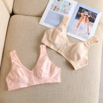 Bras U cup vertical cup Detachable shoulder strap Rear three row buckle Wireless  3/4 Other / other Young women Sweat absorption Medium thick cup No insert Plants and flowers Sweet summer cotton 21% (inclusive) - 40% (inclusive) Lace fabric Sponge cotton