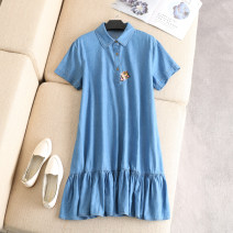 Women's large Summer of 2019 blue Large XL, 2XL, 3XL, 4XL Dress singleton  commute easy moderate Socket Short sleeve Animal design, solid Korean version Polo collar Denim routine Embroidery 96% and above Middle-skirt