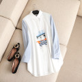 Women's large Spring of 2018 white 2XL,3XL,4XL,5XL shirt singleton  commute easy moderate Cardigan Long sleeves Korean version Polo collar Medium length cotton routine Embroidery 96% and above